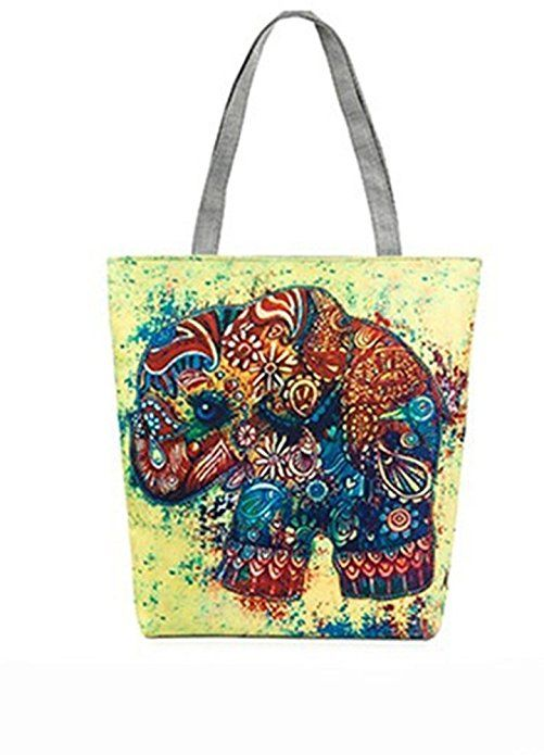 93b399982aff VigourTrader Women Tote Bag Zippered Shopping Bag Canvas Retro Style ...