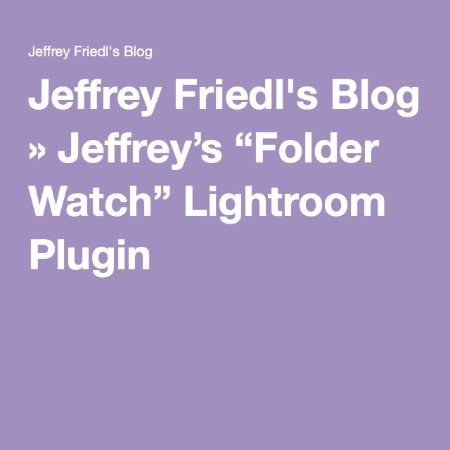 Lightroom watch folder