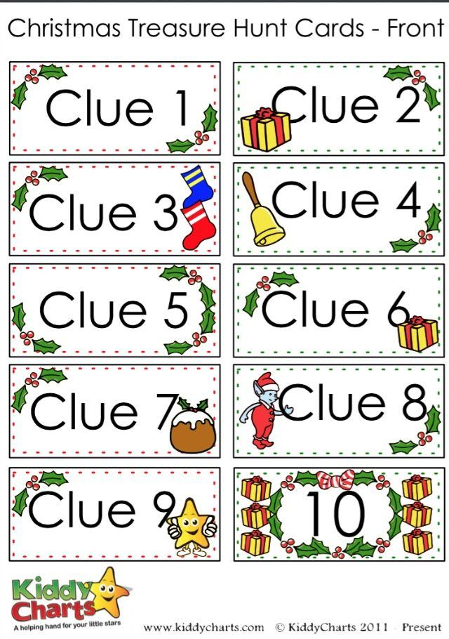 These Christmas scavenger hunt clue cards will create