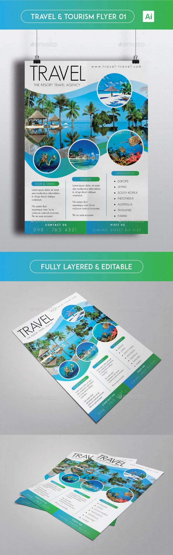travel tourism flyer template ai illustrator