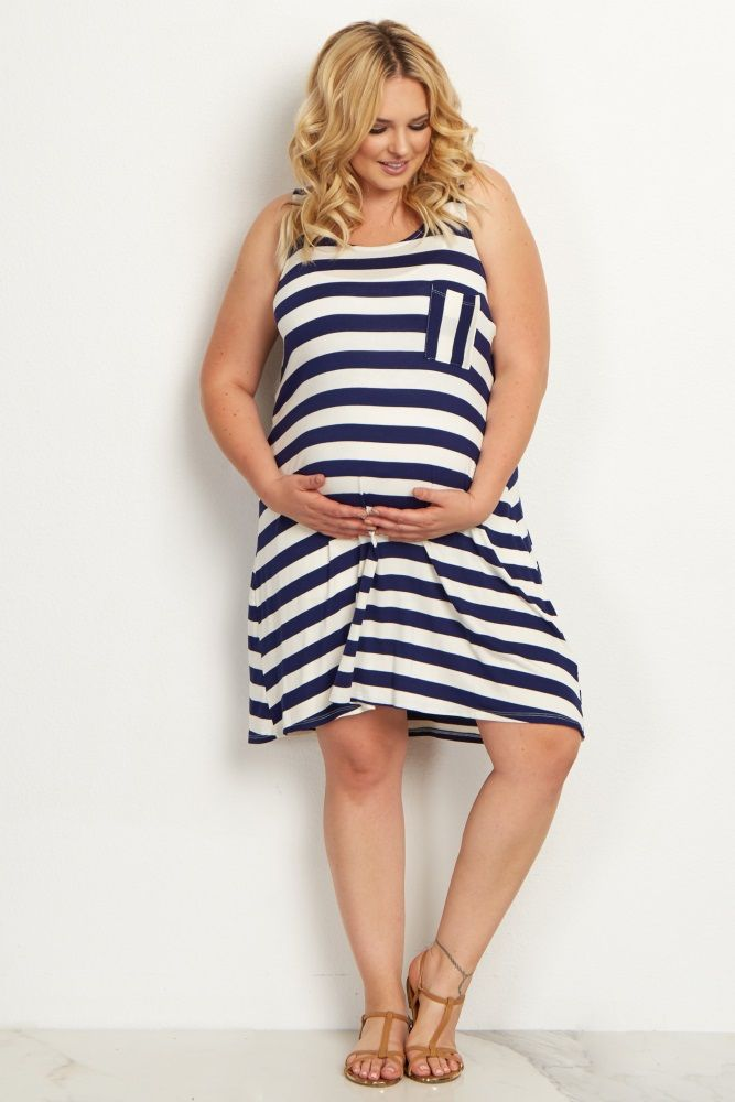ed618e93169e8 You no longer have to wait for the perfect warm weather essential! This  striped maternity plus size dress with a pocket front detail is a casually  chic ...
