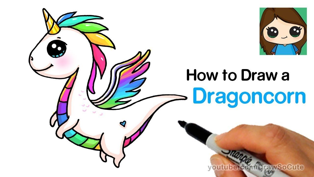 Draw so cute how to draw a dragon unicorn dragoncorn