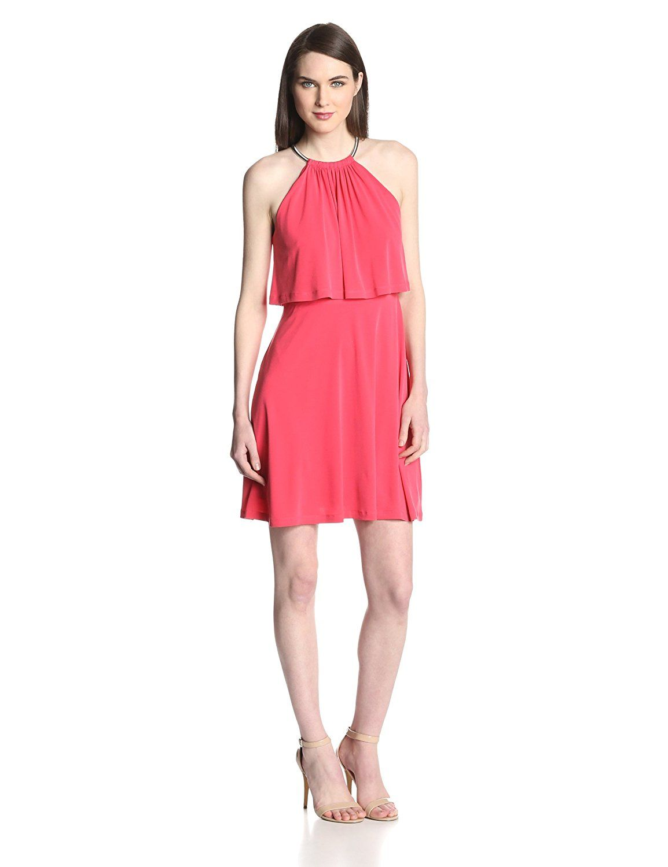 Jessica Simpson Women\'s Halter Popover-Bodice Flared Dress ** Tried ...