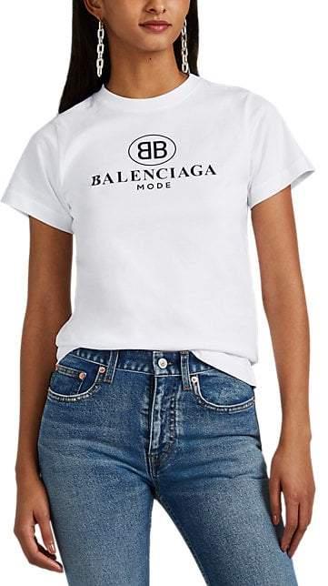 5b6a1e982c4 Balenciaga Women's BB-Logo Cotton T-Shirt - White | Products in 2019 ...