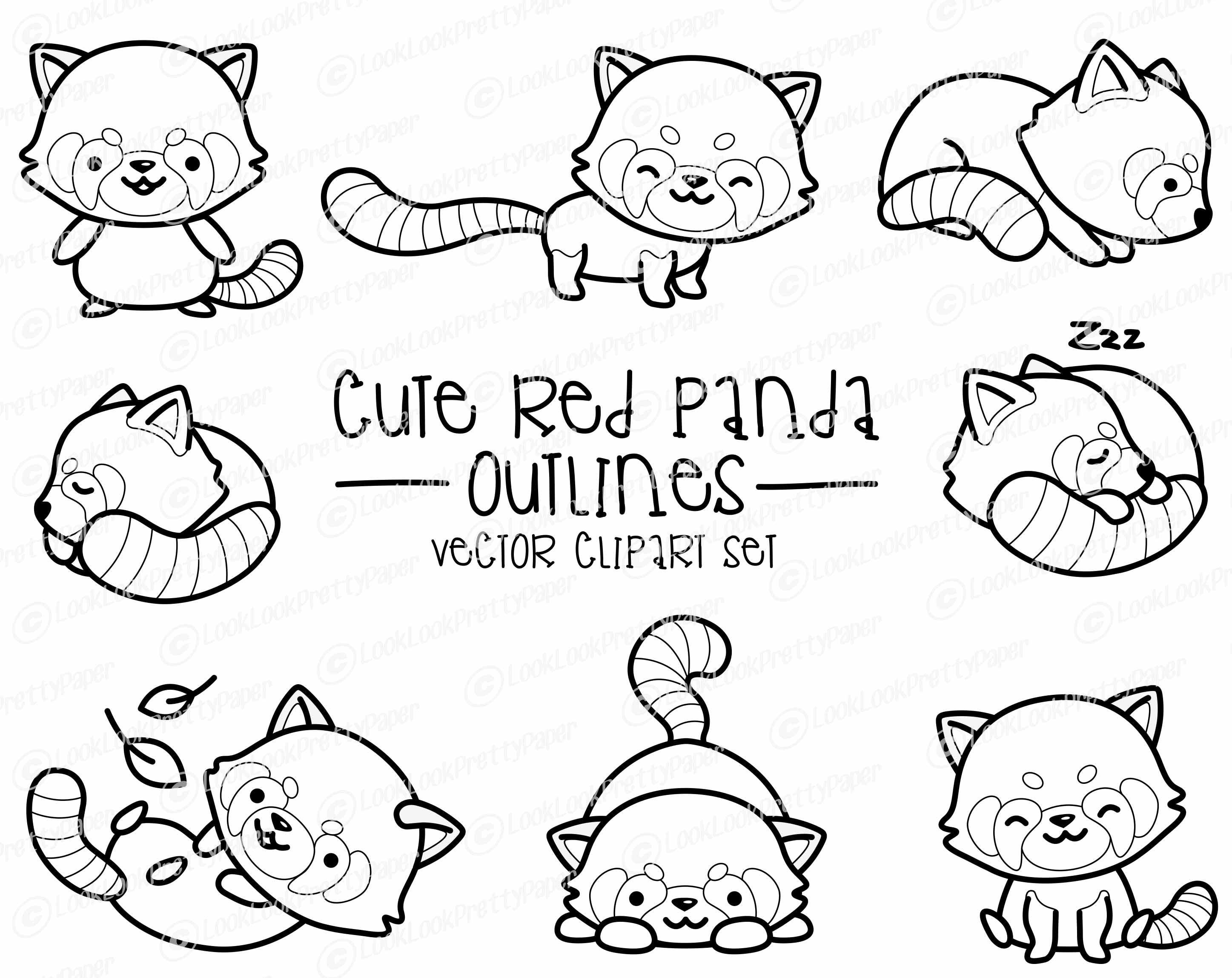 Premium Vector Clipart Kawaii Red Panda Outlines Cute Red Etsy Panda Coloring Pages Clip Art Digital Sticker