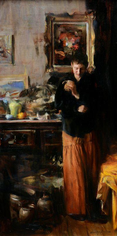 "Quang Ho   ""The Visit""   Oil, 24x12"""