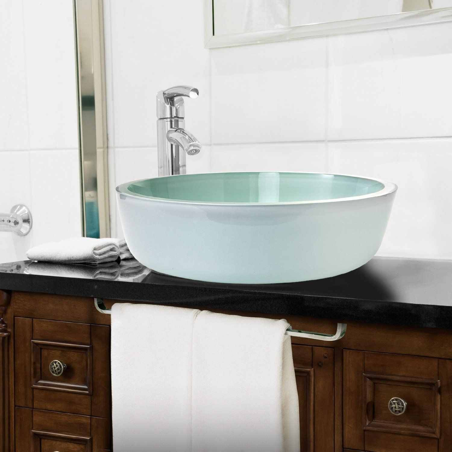 MISANO Tempered Glass Vessel Bathroom Sink Round Vanity Bowl ...