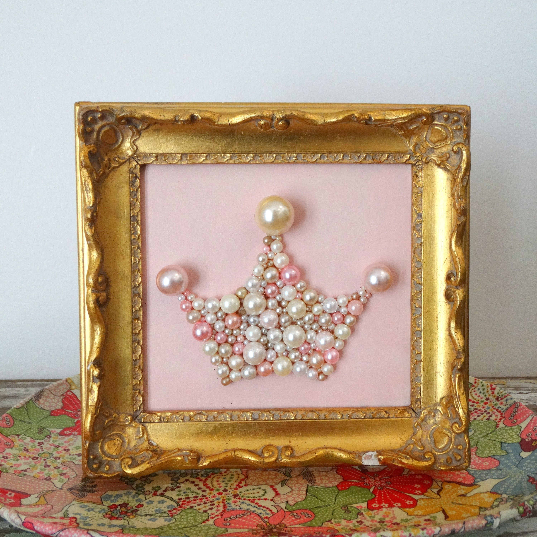 Blush Pink, Gold Ornate Framed Art Girls Nursery Decor Pink