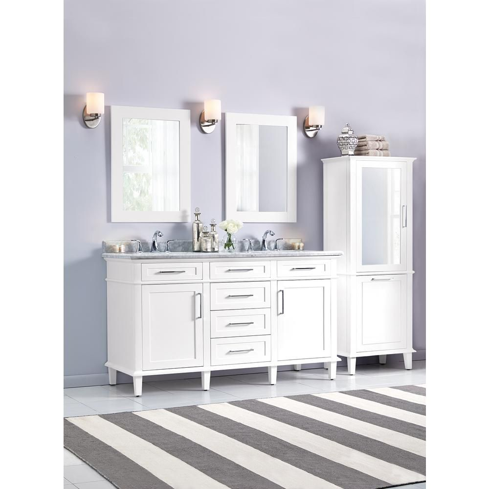 Home Decorators Collection Sonoma 60 in. Double Vanity in White with Marble Vanity Top in Grey/White with White Basin-8105300410 - The Home Depot