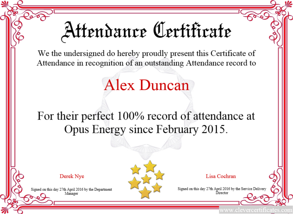 Certificate Of Attendance Free Certificate Templates For Employees