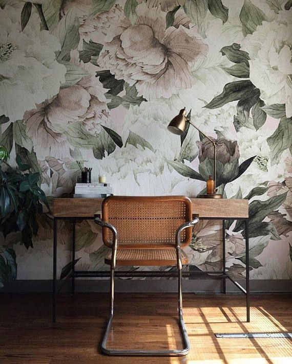 large floral wallpaper wall mural floral home d cor floral rh pinterest com