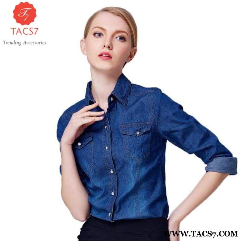 5528b38093a Fashion Denim Blouse Shirts Jeans Long Sleeve Brand Cowboy Punk Women Tops  Ladies Boby Shirts Blusas