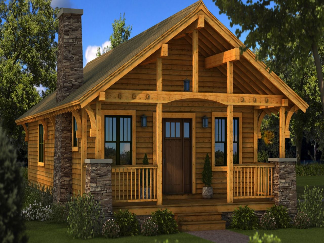 Small log cabin homes plans one story cabin plans for Log cabin sunroom additions