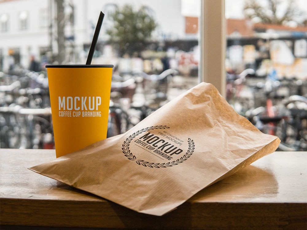 Download Coffee Cup And Paper Pouch Branding Mockup Free Mockup Free Coffee Branding Mockups Branding Mockups Psd