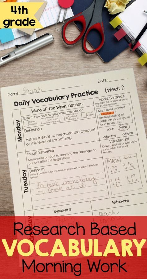 4th Grade Academic Vocabulary Daily Activities To Boost Academic
