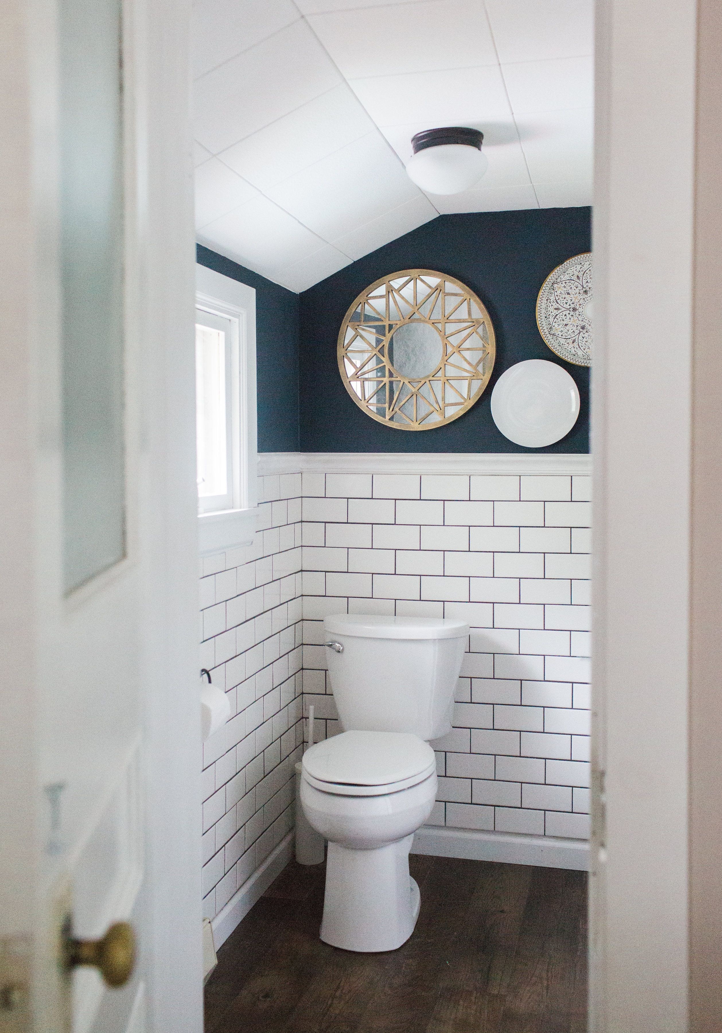 bathroom designs bathroom designs%0A such an amazing small bathroom design and makeover  Love the white subway  tile and navy