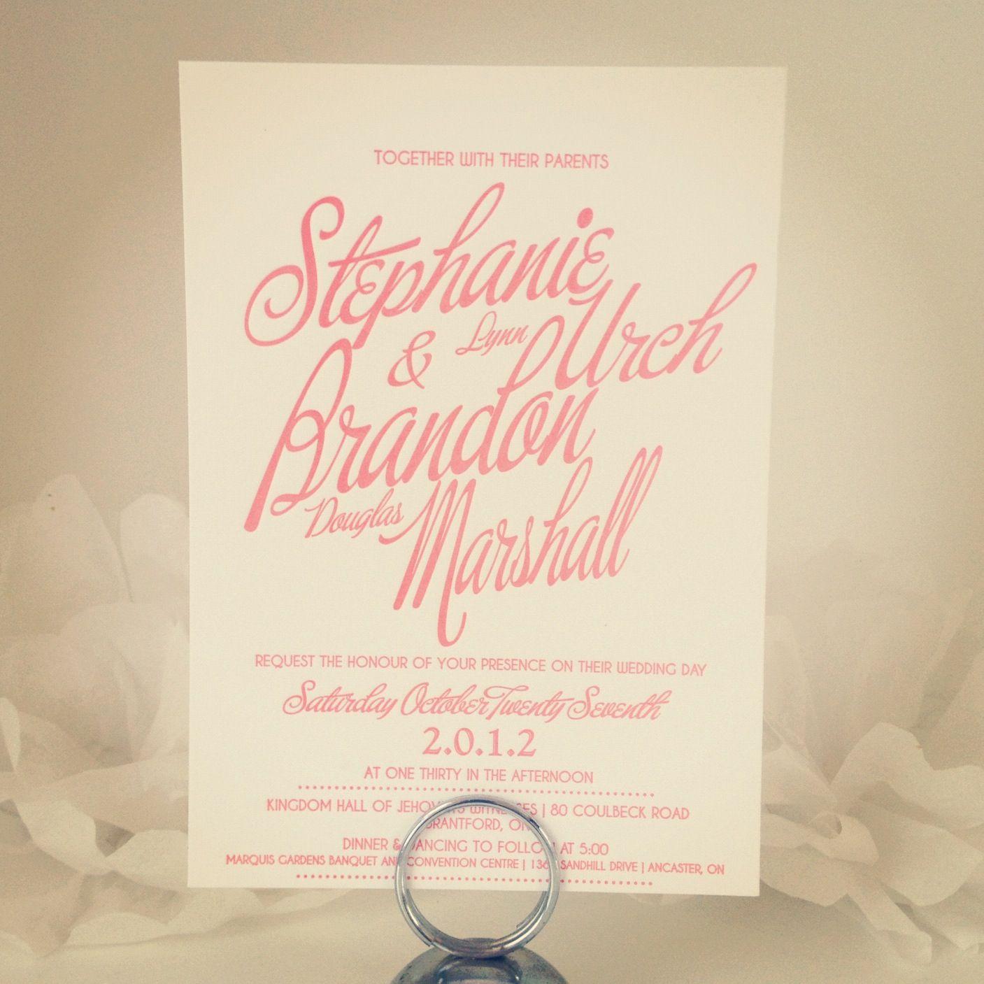 Coral letterpress wedding invitations invitations u design by