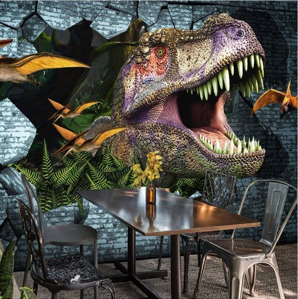 3D Roaring Dinosaur Breaking Wall Custom Wallpaper Mural