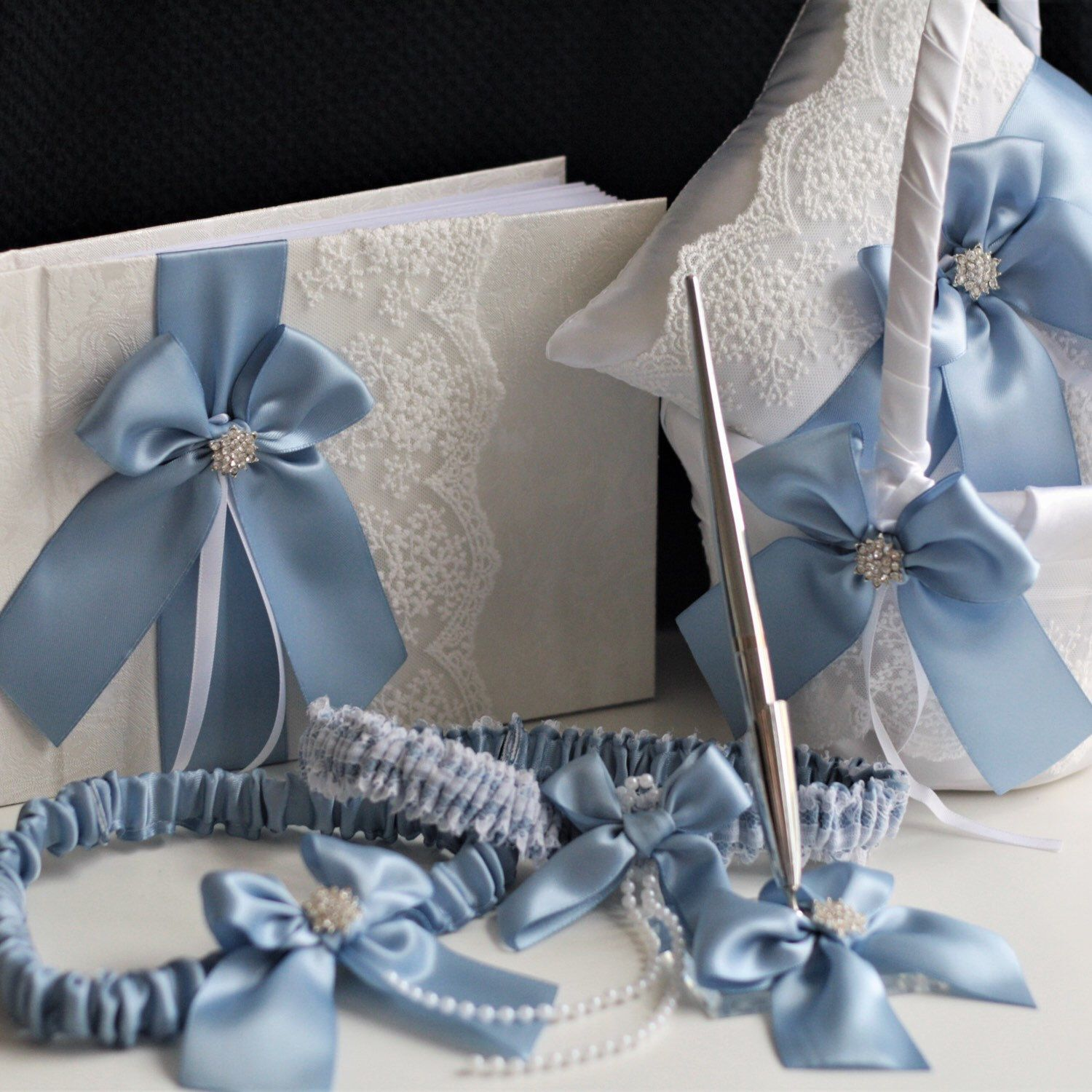 d274296c22f Steel Blue   White Wedding Accessories ♥ - Flower Girl Basket - Ring Bearer  Pillow - Garter Set - Guest Book with Pen Handmade by  alex emotions