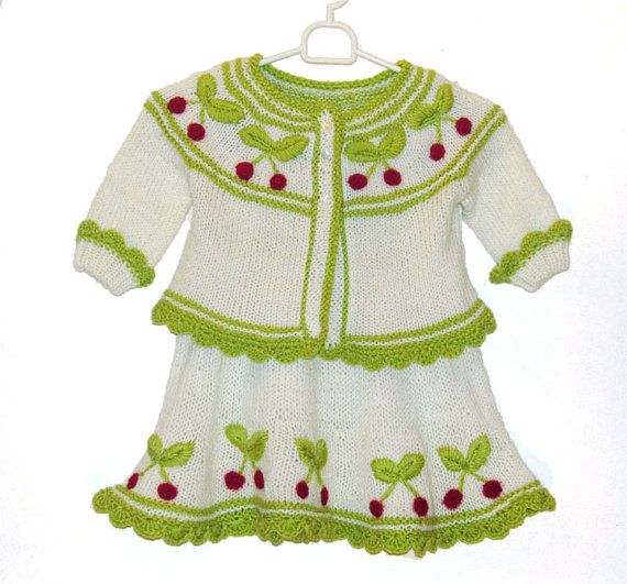 Cardigan with cherries for little girl 2 year  by iziknittings, $50.00