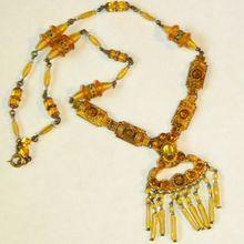 Art Deco 1920's Gorgeous Czech Glass Drippy Necklace, Gilt Brass
