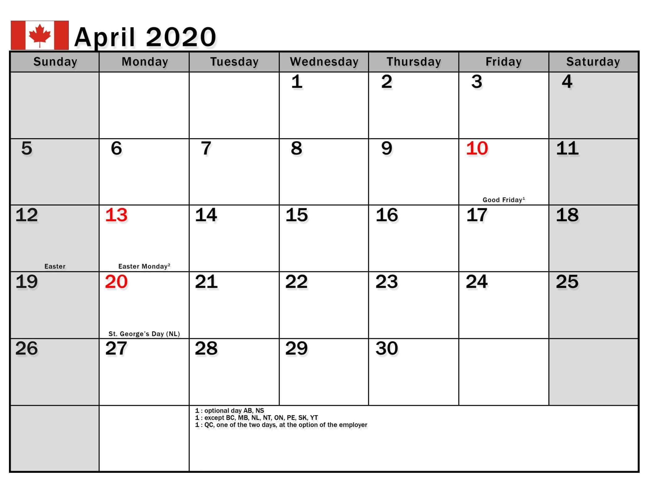 April 2020 Calendar with Holidays USA, UK, Canada, India