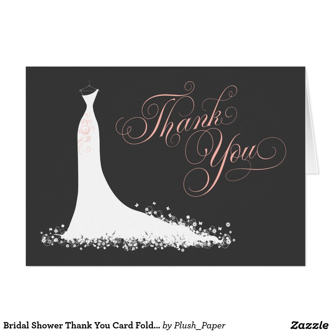 wedding custom thank you cards%0A Bridal Shower Thank You Card Folded   Wedding Gown