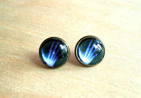 20 OFF   Hand X Ray Black and white Stud Earring by NJsDreamBoxes, $8.95