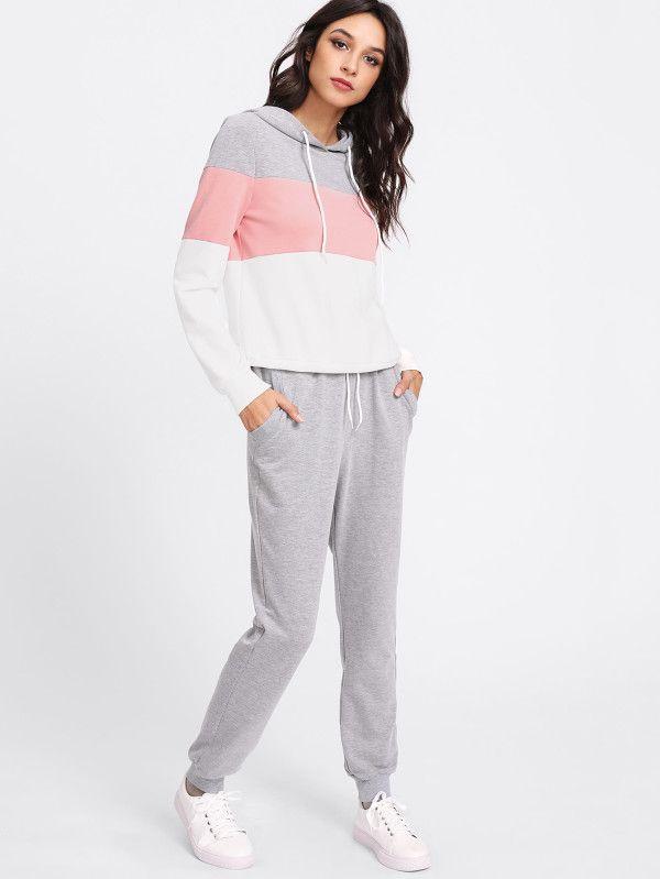 d2215f1c461743 Cut And Sew Hoodie   Sweatpants Set -SheIn(Sheinside) Boho fashion ...