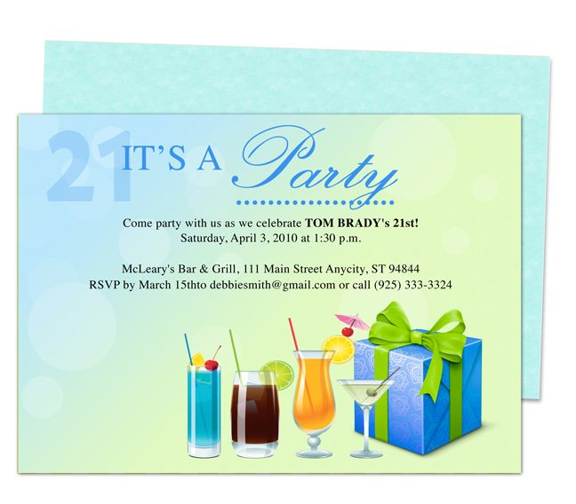 Coolers 21st Birthday Invitation Party Templates Printable DIY – Microsoft Word Birthday Invitation Templates