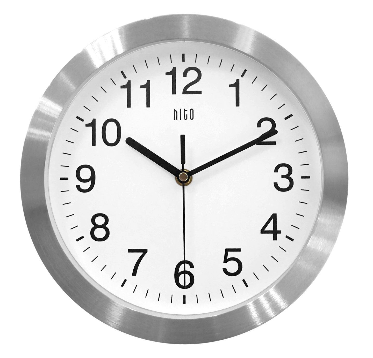 Hito Silent Non Ticking Wall Clock Metal Frame Glass Cover 10 Inches Silver Want Additional Info Click On The Image Black Wall Clock Clock Wall Clock