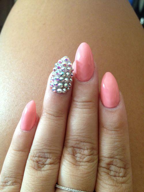 pastel pink + spikes stiletto nails