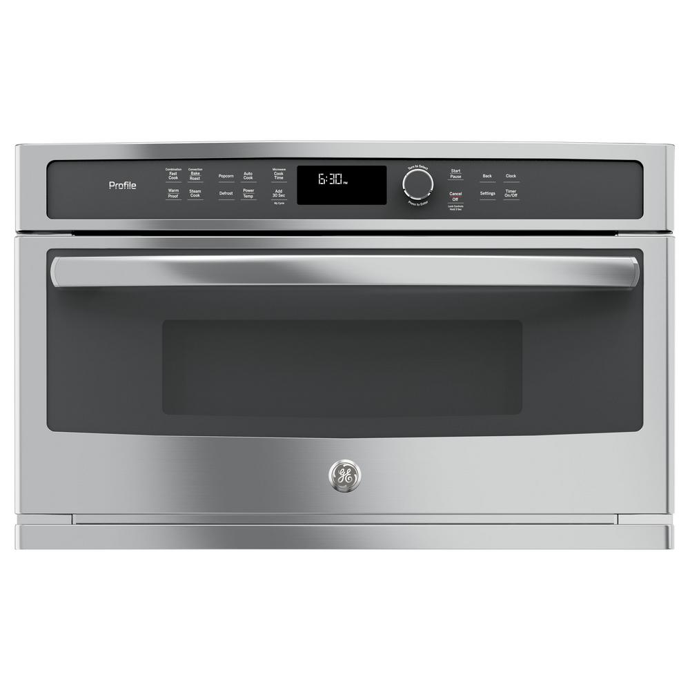 Ge Profile 30 In Electric Convection Wall Oven With Built In Microwave In Stainless Steel Pwb7030slss In 2020 Built In Microwave Oven Microwave Convection Oven Built In Microwave