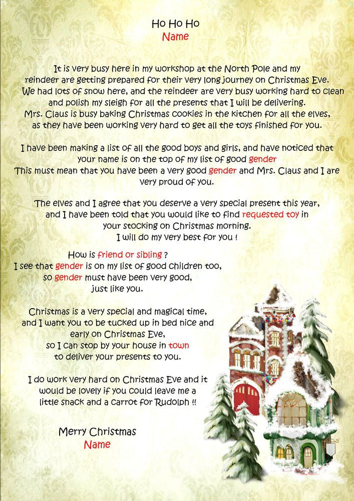 Personalised Letter From Santa  Father Christmas  North Pole