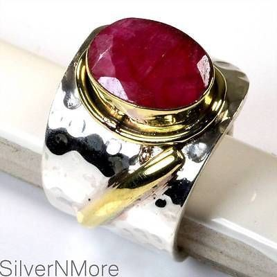 Ruby Hammer Ring Size 8 .925 Sterling Silver Jewelry Ae083