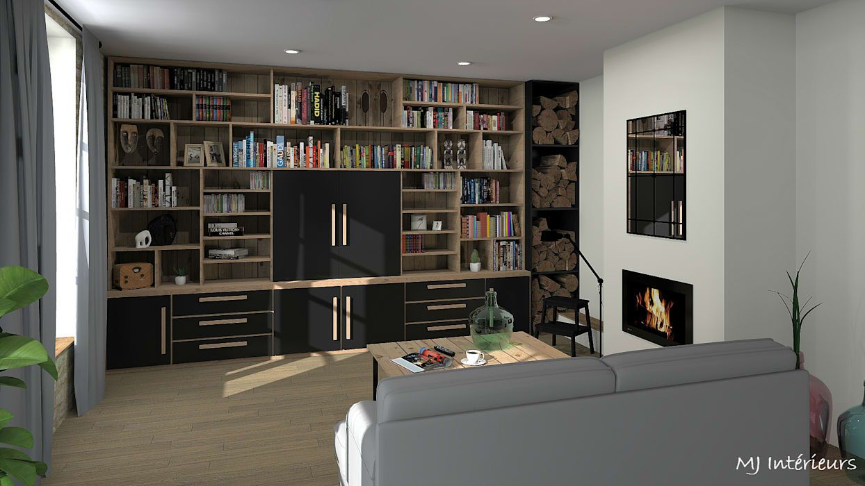 Meuble Tv Avec Bibliothèque bibliothèque/meuble tv salon industriel par mj intérieurs