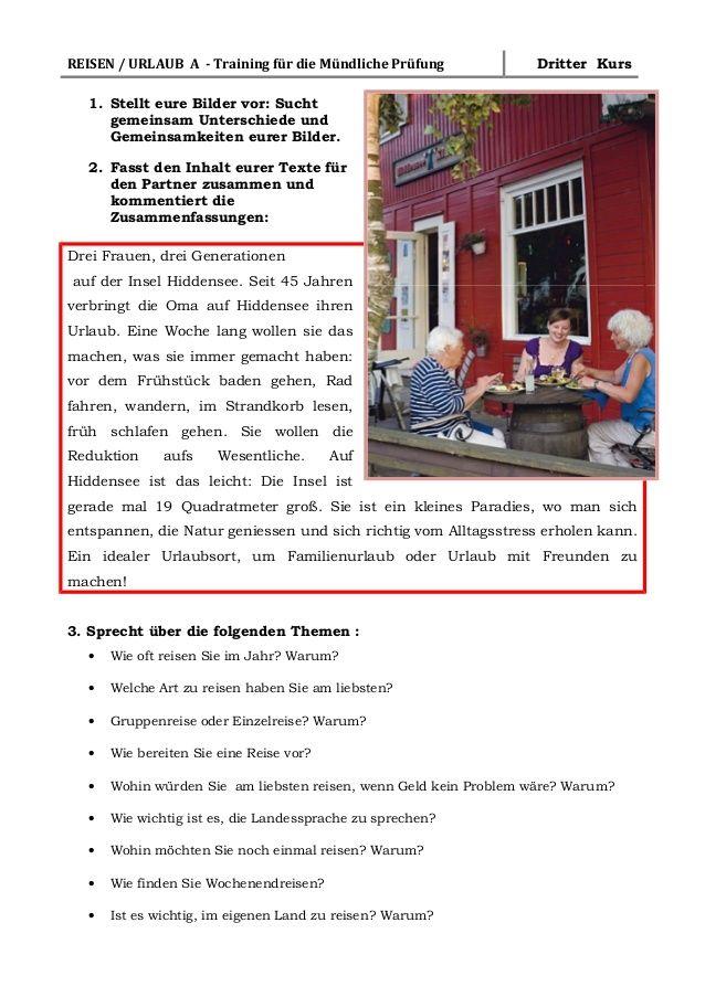 b1 training m ndliche pr fung urlaub und reisen a1 deutsch learn german german language. Black Bedroom Furniture Sets. Home Design Ideas