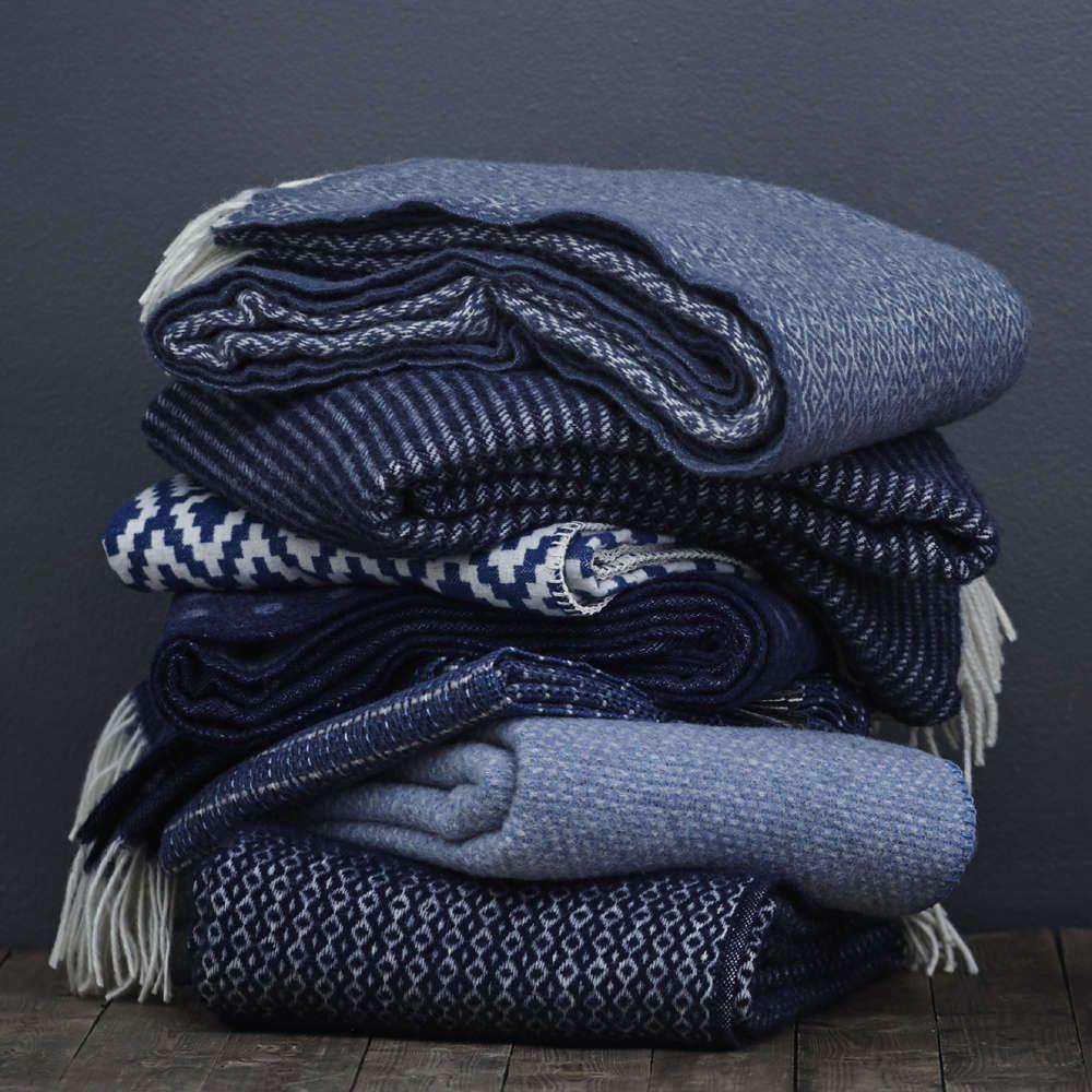Klippan Decke Wolle 130 200 Rumba Blau Wolldecke