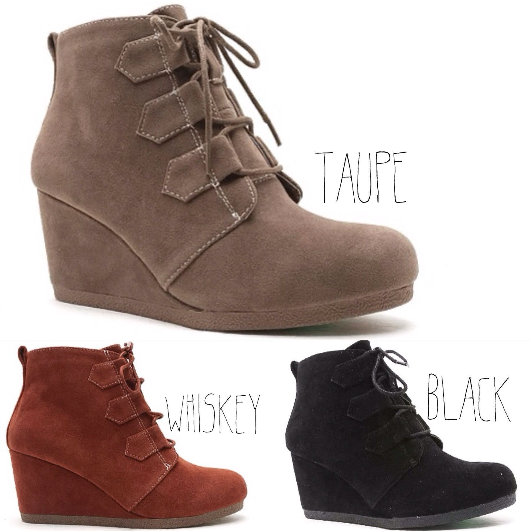 The best transitional bootie, good for Fall, Winter, and Spring. It just simply great! This style features a suede leatherette upper, round toe, lace up design ,wedge wrapped heel finished on a lightl