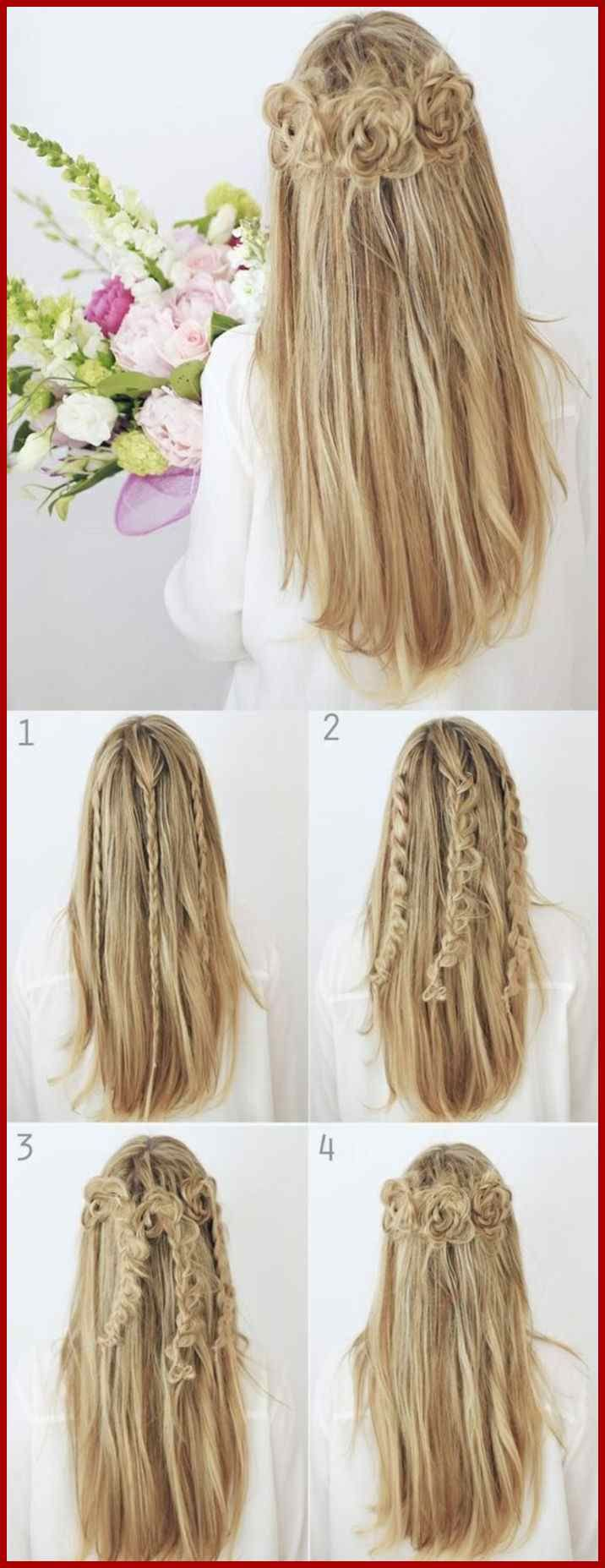 Lange Glatte Blonde Haare Frisur Mit Rosen Frisur Pinterest Frisuren Tutorials Geflochtene Frisuren Flechtfrisuren Flechtfrisuren Selber Machen