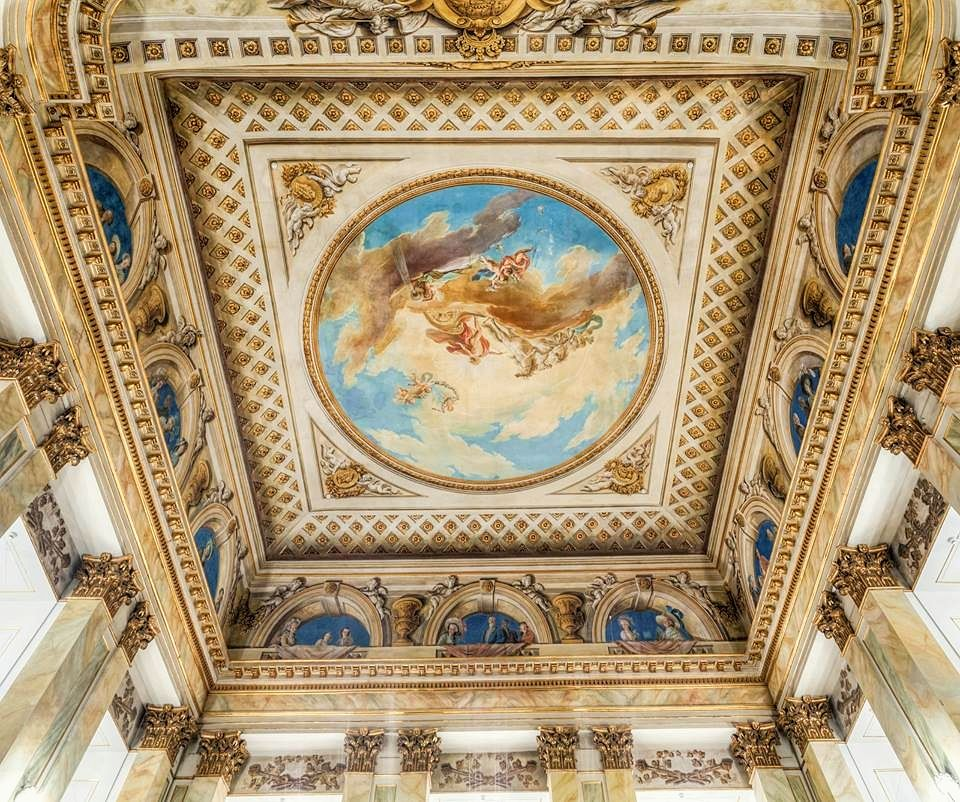 Ceiling of the Royal Theatre in the Old Orangery was ceted between 1784 and 1788 for Stanislaus Augustus Poniatowski by Domenico Merlini and adorned with illusionistic painted plafond by Jan Bogumił Plersch showing the King as Apollo on a quadriga