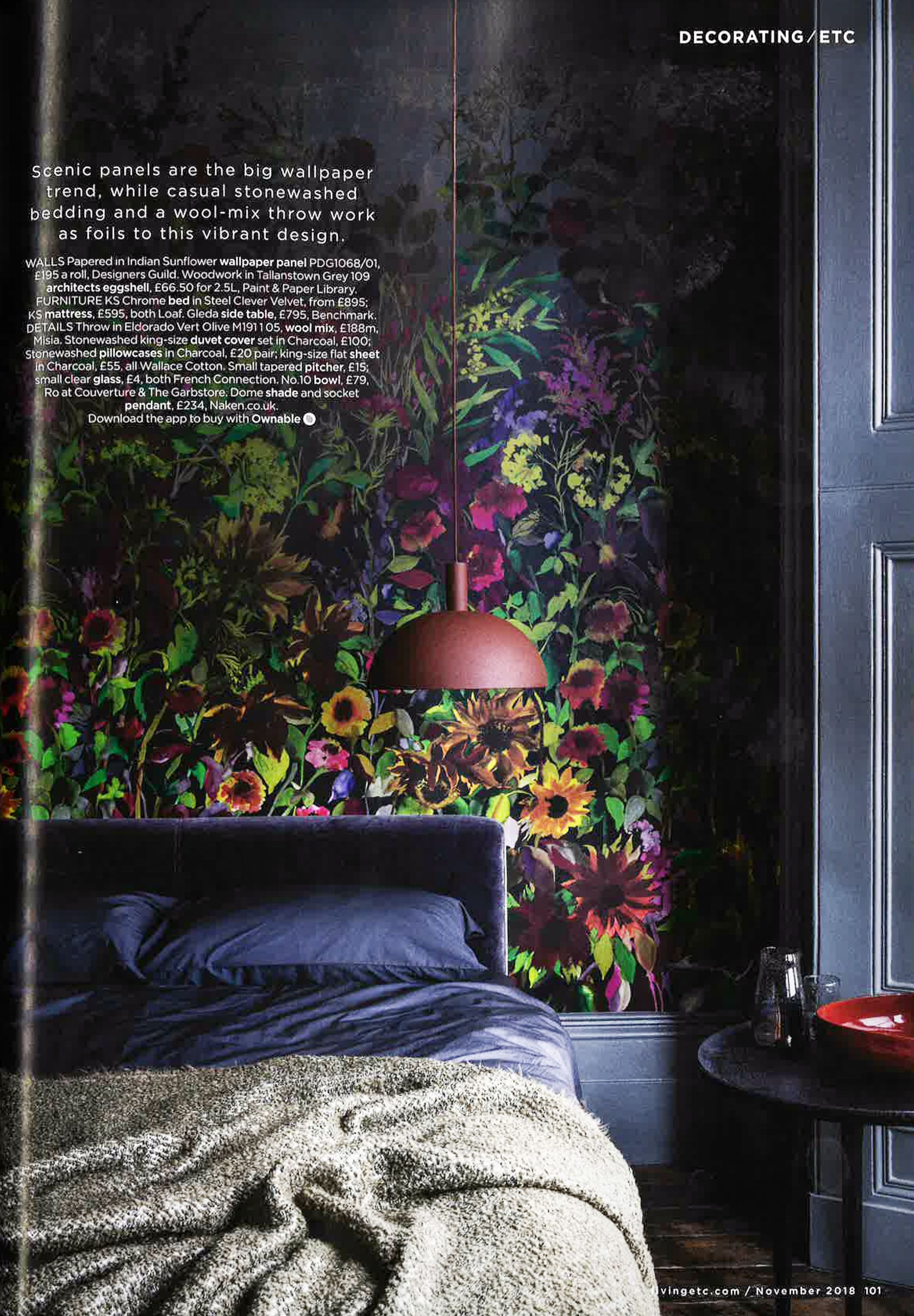 Add a dramatic and whimsical backdrop to your bedroom with