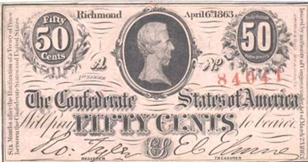 All 1863 issued Confederate notes except the 50 cents, 1 & 2 Dollar note carry a red date stamp. This was the Confederacy's attempt to encourage its citizens to convert these notes into 6 percent interest bearing bonds within 12 months of the date stamp. Upon conversion the note was cancelled by cutting through it with a sharp instrument or by cutting out triangular or semi-circular pieces.
