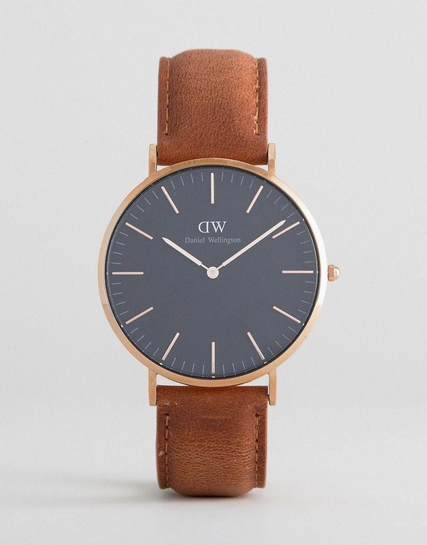 5195fb8040b8 Daniel Wellington Classic Black Durham Leather Watch With Rose Gold ...