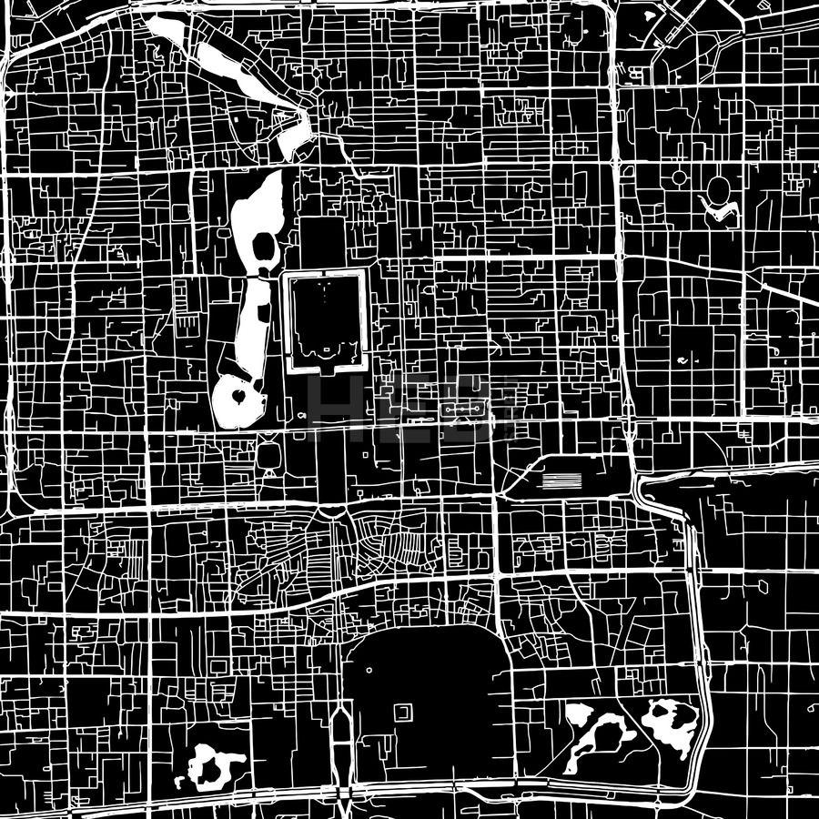 Beijing China Downtown Vector Map Beijing China