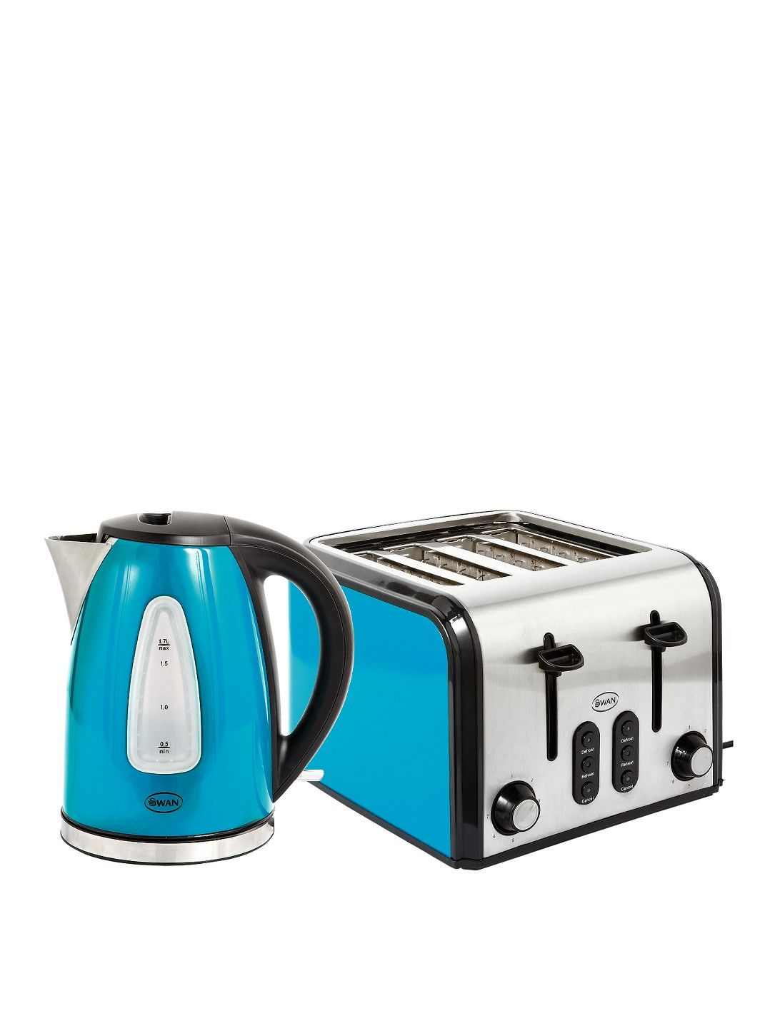 Swan SK13110B/ST70100B Fastboil Kettle and 4-Slice Toaster Pack ...