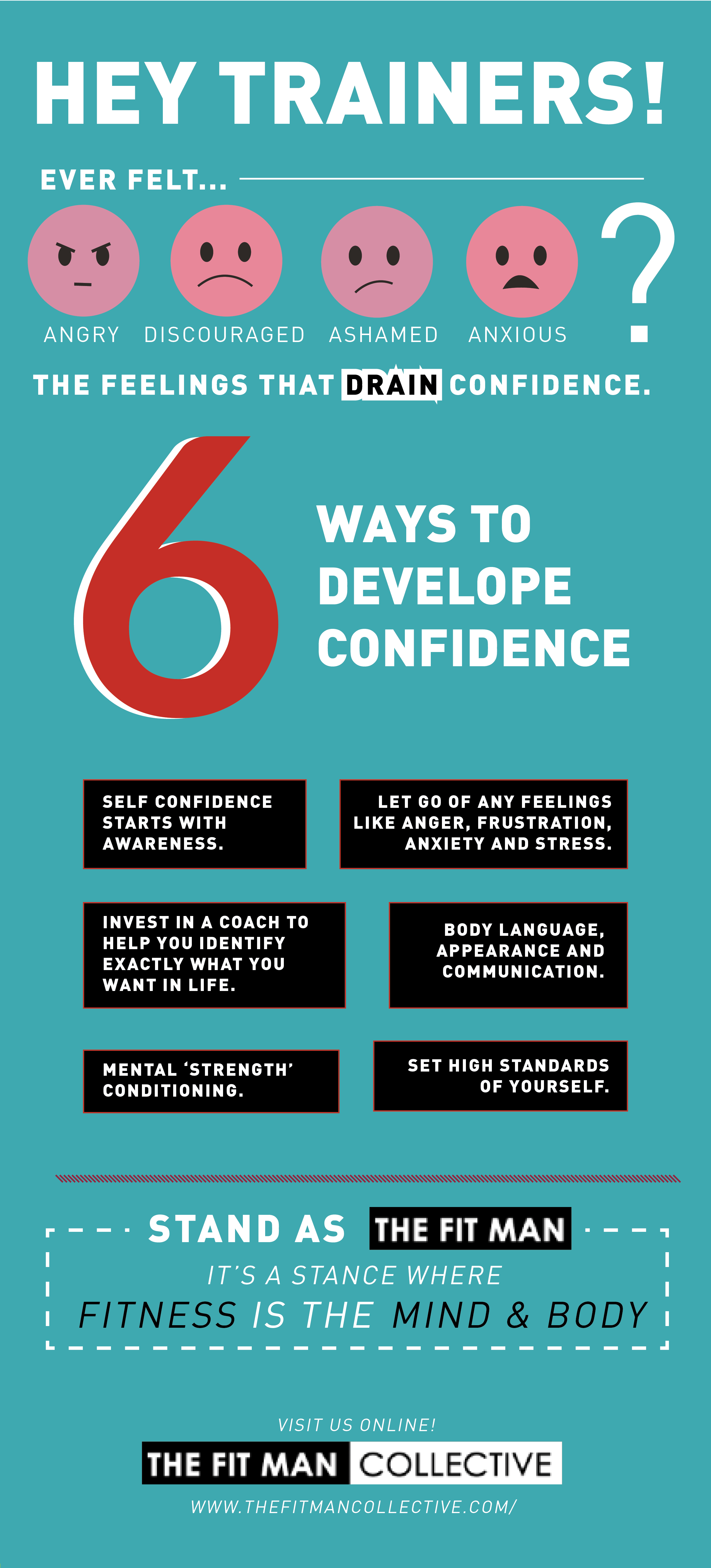 Have you now (or ever) felt angry, frustrated, limited, discouraged, ashamed, disappointed or anxious? The feelings that drain confidence. If so, I can relate.  http://thefitmancollective.com/6-ways-i-developed-confidence-and-turned-my-life-around/