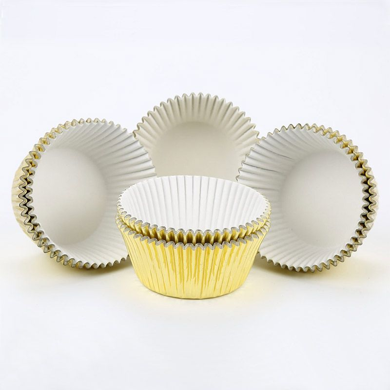 Gifbera Standard Gold Foil Cupcake Liners 200 Count Baking Cups