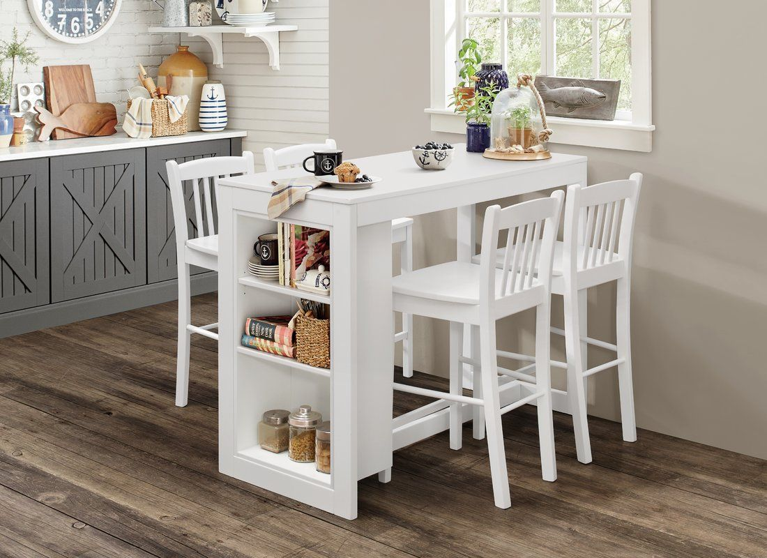 Alcott Hill Amandes Counter Height Dining Table with Shelving ...