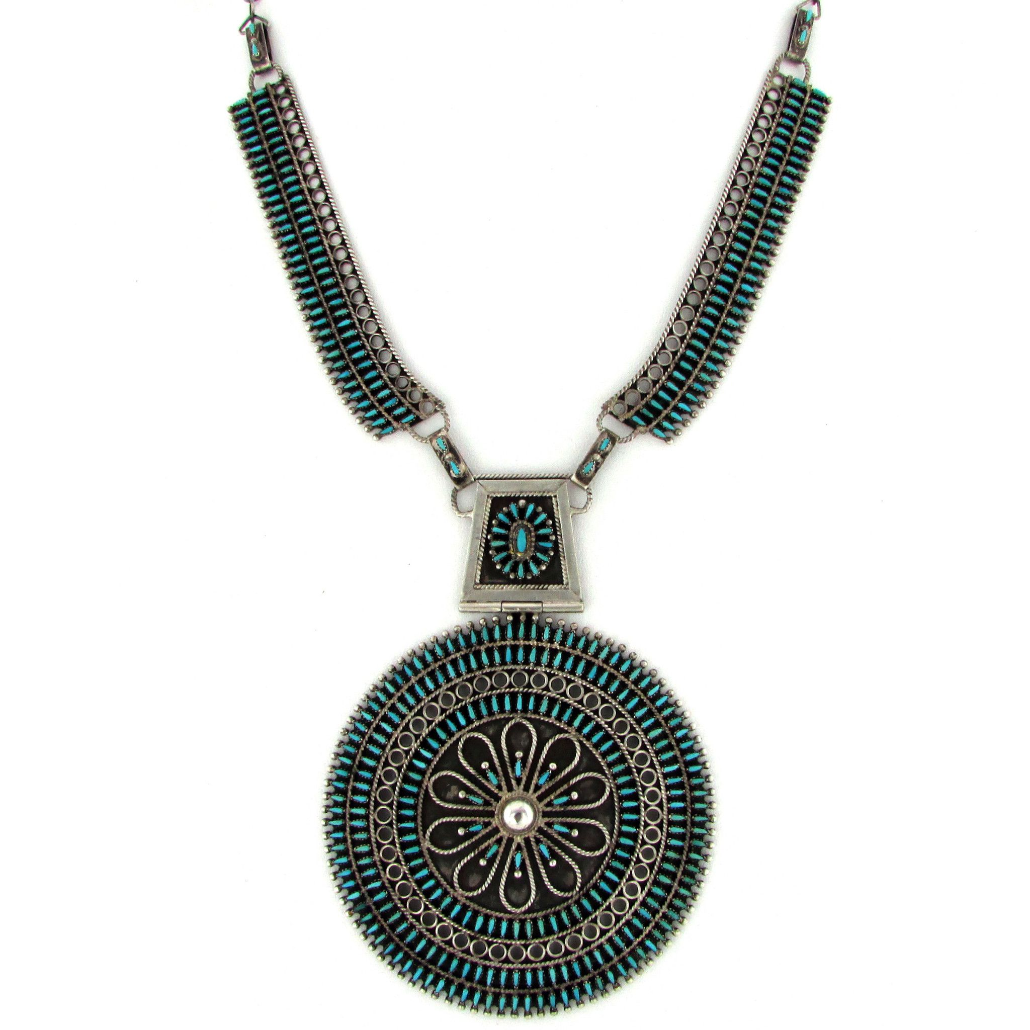 necklace zuni pendant portfolio up chimayo squash del close blossom set earring trading and